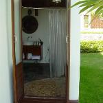 outdoor entrance to bathroom - pool bungalow