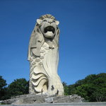 Famous Merlion statue on Sentosa Island