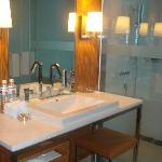 Bathroom with a flatscreen TV monitor in the upper righthand corner