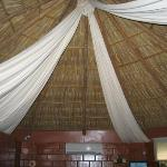 Palapa-style roof of bungalows