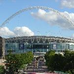 View from Wembley Park train station steps (hotel 2 mins walk to the right)