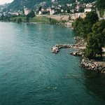 View of swimming area from Chateau de Chillon