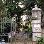 Looking through gates towards the old villa