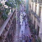 the shopping street below - busy in the day