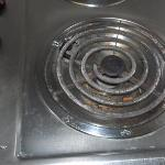 food in stove burners