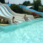 The swimming pool with waterslides