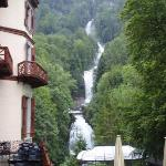 View of falls behind Grandhotel Giessbach