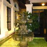 The front entry way of our villa & the running fountain