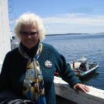 Mom with Zodiak boat in background