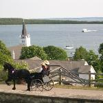 Horses. boats, harbours, and lIghthouses at Mackinac