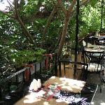 The breakfast patio