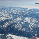 Austrian Alps from an airplane