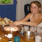 Michelle 14, enjoying crabs cooked by Sammy & Leroy