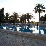 The hotel pool in the evening