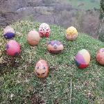 Our painted Easter Eggs on Castle Crag