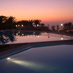 just after sun set by the pool