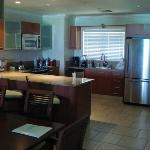 The full kitchen of our one-bedroom beachfront room