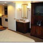 Bedroom TV and sink