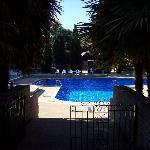 another view of the lovely outdoor pool in the quiet morning sunshine