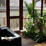 The bath and outdoor shower