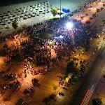 1000's of people gathered late into night