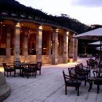 Amanjiwo terrace in the evening