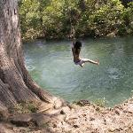 Rope swing over river