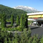 Hotel main entrance area with snow capped mountain in background