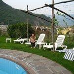 Hotel poolside overlooking vineyards
