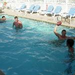 The guys playing football in the Port Aransas pool