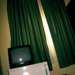 TV fridge and curtains!