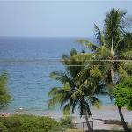 slightly zoomed in view of beach from the deck...
