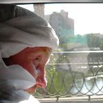crossing the Nile bridge in Cairo