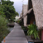 A view of Bungsamrans bungalows along one of its many rustic wooden walkways