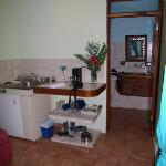 kitchenette/living area (bathroom in background)