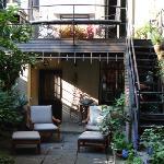 Garden showing door to studio and staircase to host's quarters
