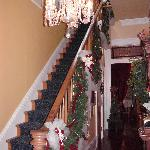 Front Staircase Decorated at Christmas