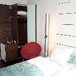 Closet, refrigerator, nightstand lamp