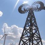 Modern wind turbine and rare twin windmill