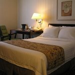 Hotel bed and desk