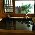 The wood bath onsen (the other one is stone)