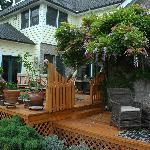Beautiful back deck.  Always warm and inviting!