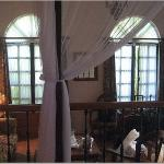 view of the bed from the sitting room