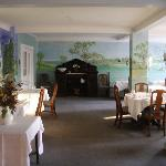 Dinning room, good food in a hand painted room.
