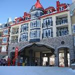 slope side of hotel, ski locker room entrance on right