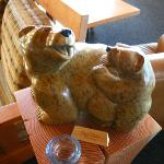 Cute soapstone carving in Pointe Restaurant