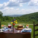 View from breakfast on the deck at Kenburn Orchards B&B