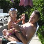 My husband and daughter at the sparkling pool