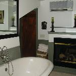 Gas fireplace in bathroom