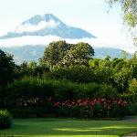 Grounds, with volcano nearby